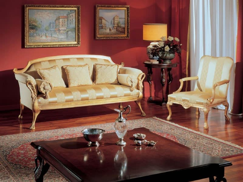 3180 ARMCHAIR, Classic armchair with golden decorations for living rooms