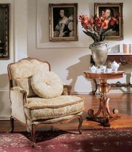 3210 ARMCHAIR LUIGI XV, Luxury classic upholstered armchair, Louis XV style