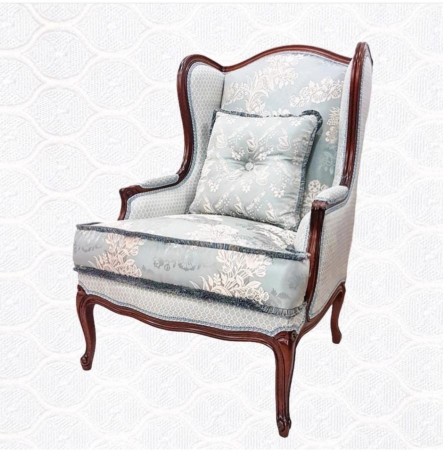 3285 ARMCHAIR, Bergere armchair, walnut finish, padded rubber
