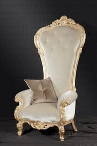 Trono fabric, Baroque style armchair ideal for living rooms and hotels