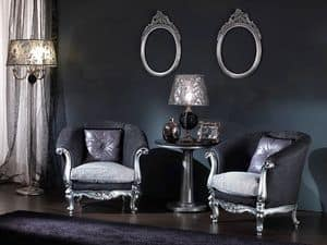 715 ARMCHAIR, Baroque armchair with silver leaf finish