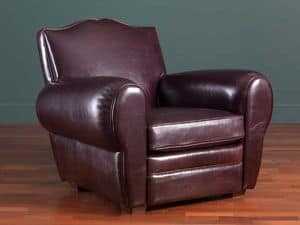 Alberto armchair, Classic leather armchair, 30s and 50s style