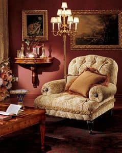 Albina armchair, Armchair with quilted padding, classic style