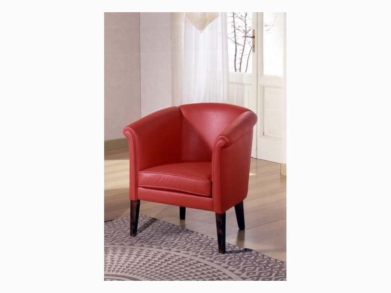 Allegra, Elegant upholstered armchair, handcrafted, for reception