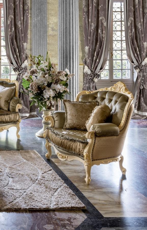 Anastasia armchair, Tufted armchair with Swarovski