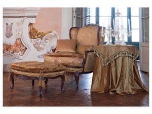 Anna armchair, Elegant classic armchair, glossy walnut finish
