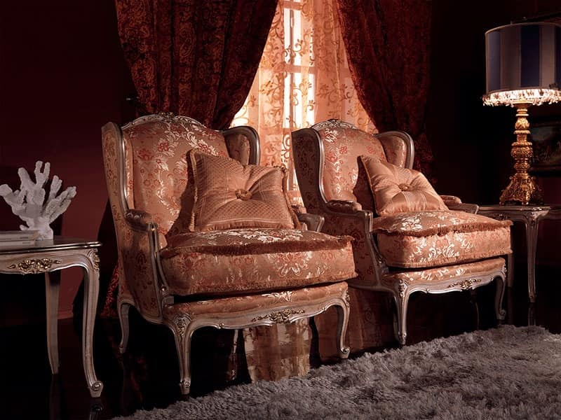 Anna Big armchair, Armchair with exquisite decor, wooden frame