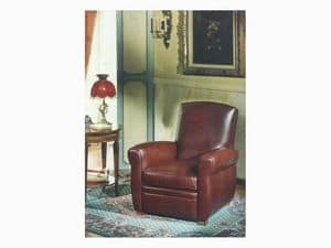 Armand, Antique style armchair in leather, for living room