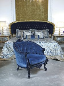 Armchair 3698, Classic armchair in blue velvet