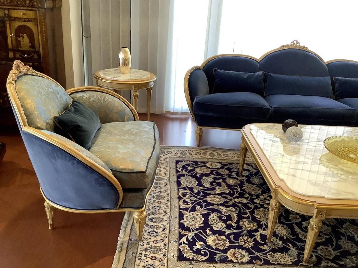 Armchair 4972 Louis XVI style, Luxury armchair, with antique decapè finish