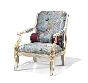 1730/A, Classic armchair with printed fabric upholstery