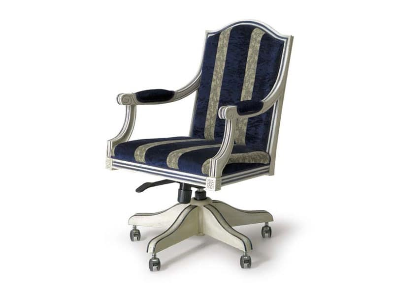 Art.224 armchair, Classic style armchair with wheels and adjustable height