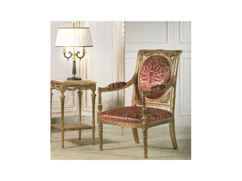 Art. 805 Versailles, Armchairs with rich handmade carvings, for neoclassical style sitting rooms