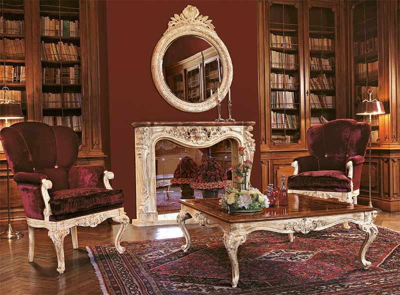 Art. 961/L, Armchairs for luxury lounge, hand-carved wooden base