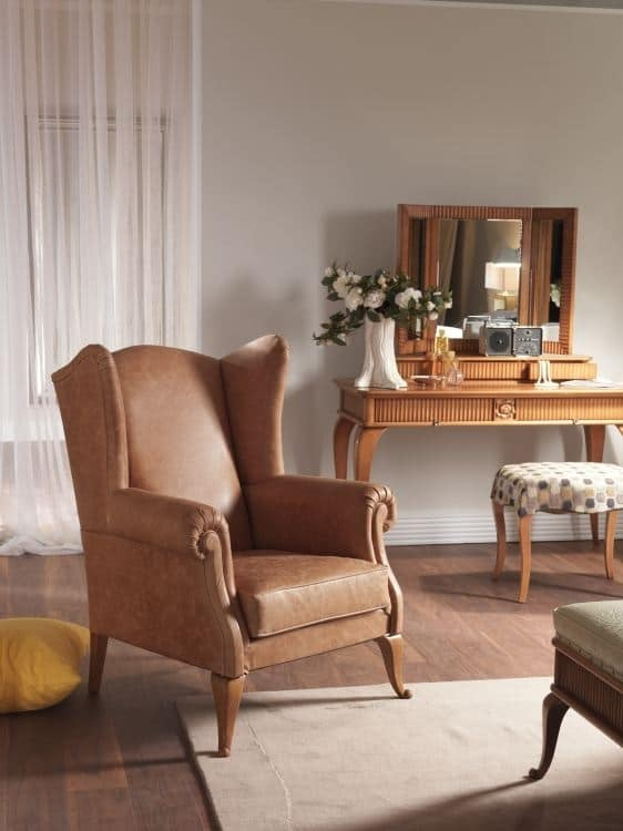 Art. CA942, Armchair upholstered in leather, classic style