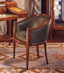 Art Déco Art.551 armchair, Classic armchair in genuine leather