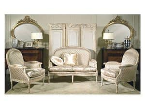 Art. RI 81 Rialto, Wooden armchairs, with patinas and gilding decorations, for classic hotels
