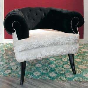 Audrey, Classic luxury Armchair with quilted covering