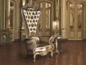 B/110/17 The Throne, Wooden decorated armchair, quilted backrest