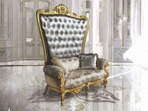 B/120/3 The Throne, Throne armchair, quilted backrest, handmade