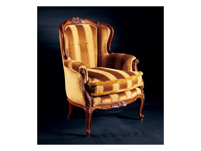 Barocco armchair 779, Padded armchair made of inlaid wood, antique style