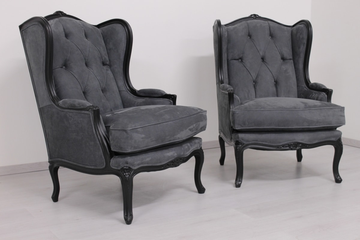 Bergere, Rococo armchair, upholstered with nubuck leather
