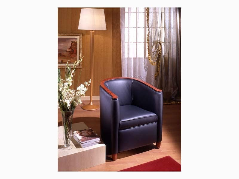 Bibi, Armchair in poplar wood, for waiting room and sitting room