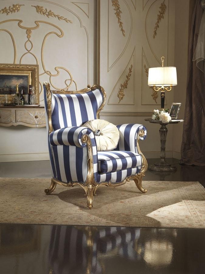 Borromini armchair, Bergere armchair upholstered in silk fabric