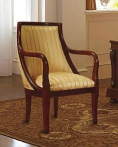 Canova armchair, Armchair in walnut, upholstered, for classic hotels