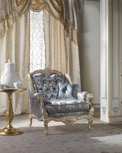 Cardinale armchair, Classic armchair with capitonn� padding