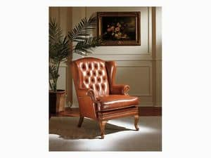 Clementina, Preciously decorated armchair, leather upholstery
