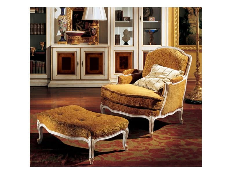 Complements lounge set 848 849, Luxury classic armchair and footrest