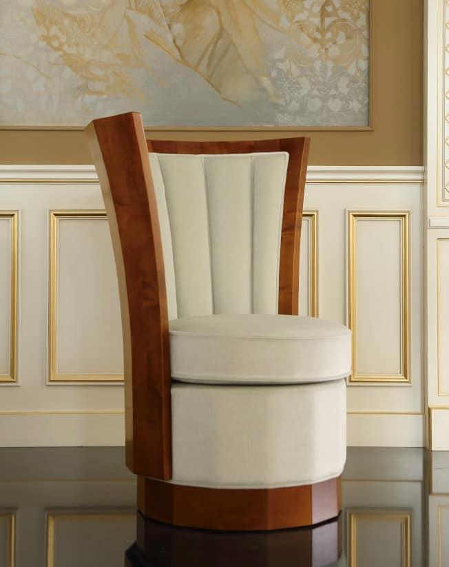 Decò Armchair, Decò style armchair, upholstered, with wooden base