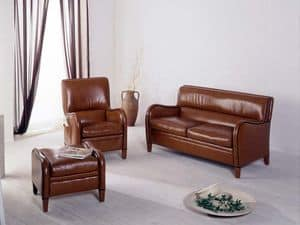 Diana, Brown leather armchair, with high quality finishes
