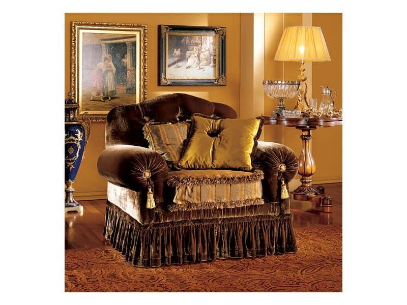 Elena armchair, Luxury classic armchair with capitonné padding