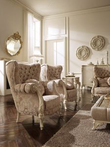 Elisabetta armchair, Bergere armchair with handcrafted decorations
