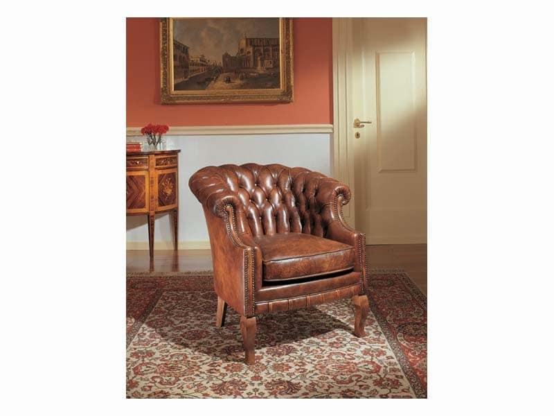 Ella, Armchair with tufted upholstery, leather-covered
