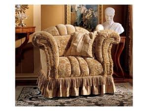 Emanuela armchair, Armchair upholstered with precious fabrics