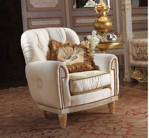 Esimia armchair, Classic armchair with silk fabric