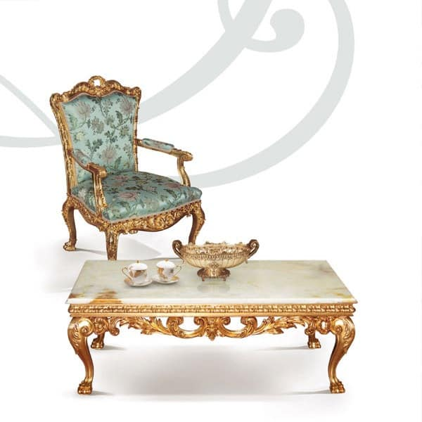 F757, Armchairs in hand-carved wood, gold leaf finishes