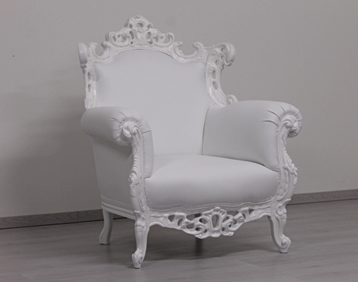 Finlandia leather, New baroque armchair, upholstered with nubuck leather
