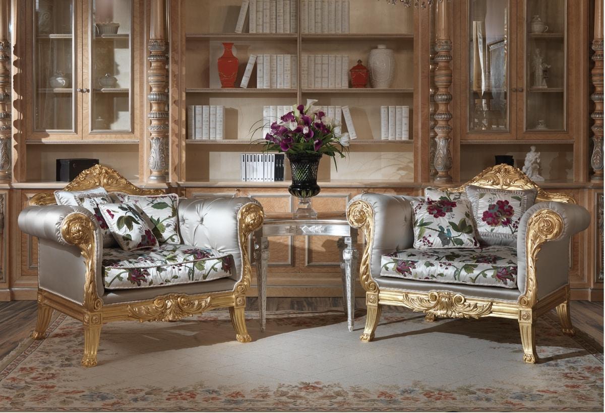 Fiore armchair, Armchair with capitonné padding