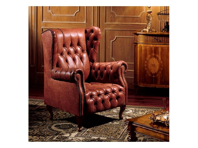 Hepplewhite bergere anna, Armchair with quilted padding, classic style
