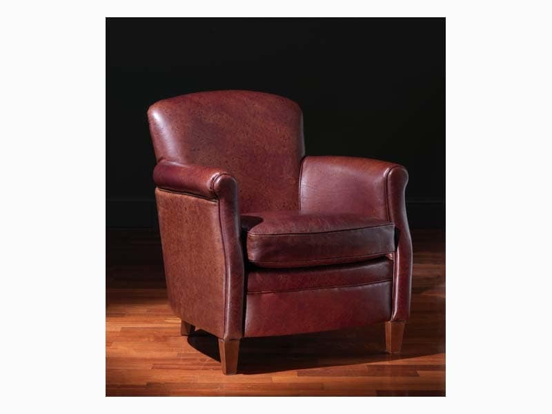 Paul, Classic armchair with leather covering