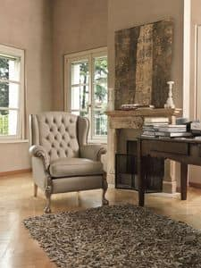 Kyoto, Buttoned armchair suitable for classic living room