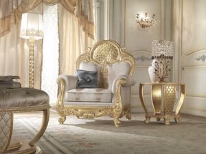 Lario armchair, Classic style armchair with lace decoration