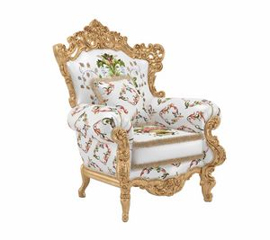 Luxor armchair, Armchair with sumptuous decorative carvings