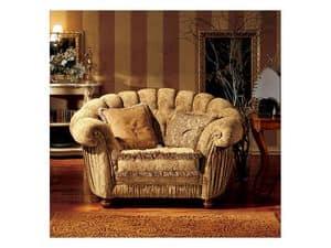 Marika armchair, Classic style armchair with a semicircular backrest