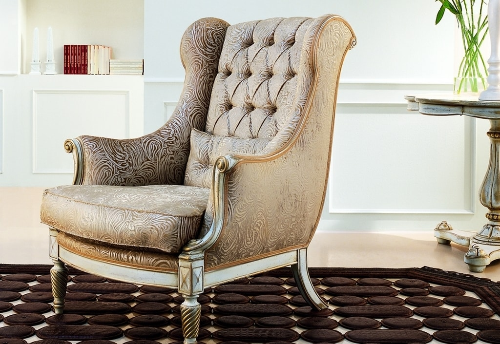 Michelangelo RA.0998, Walnut armchair, shaped armrests, curl inlay legs, capitonnè back, for environments in classic luxury style