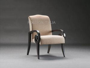 Mira, Classic armchair in wood and fabric
